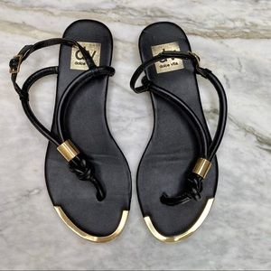 DOLCE VITA Black Leather Gold Hardware Sandals